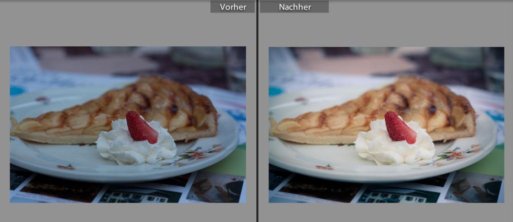 in Raw oder JPG fotografieren - Kuchen RAW vorher / nachher