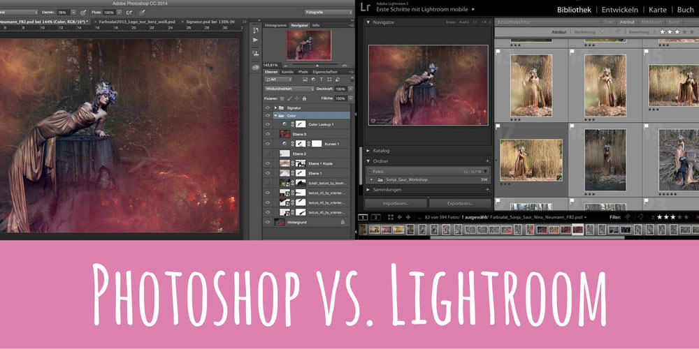 Photoshop vs Lightroom Farbsalat